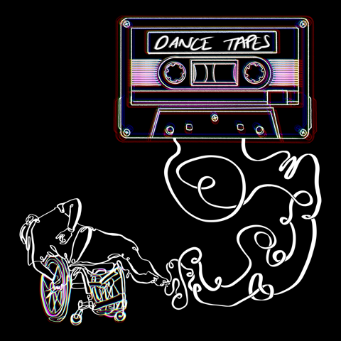 Graphic Description: On a black background a cassette tape unspools, the winding tape unravels to tangle up into the form of a dancer balancing across their wheelchair. The cassette sits top right, outlined in white linework, with neon etchings echoing copies of the cassette. The words 'Dance Tapes' scribbled across the tape label. The figure sits bottom left, composed of wriggling lines of white tape, the dancer faces away from us as they lean horizontally across the wheelchair seat. The linework of the wheels of the chair mirror the tape, with etchings of neon echoing behind.